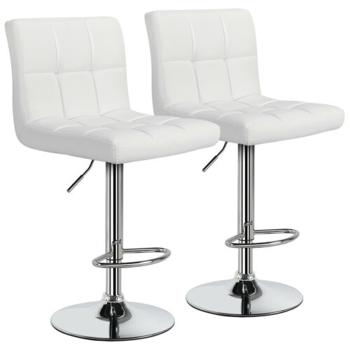 2pcs Adjustable Modern PU Leather Swivel Bar Stools Counter