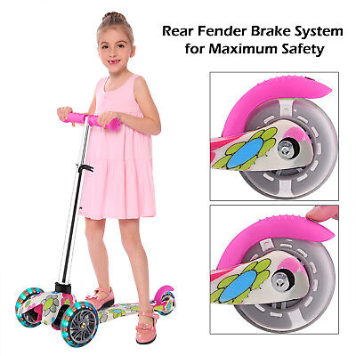 Kids Scooter Deluxe for Age 3-12 Adjustable Kick Scooters Girls Boys 3LED Wheels - Girls 3 Wheeled Scooter