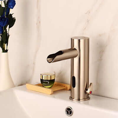 Brushed Nickel Bathroom Sink Mixer Automatic Hand Touch Free Sensor Basin Faucet