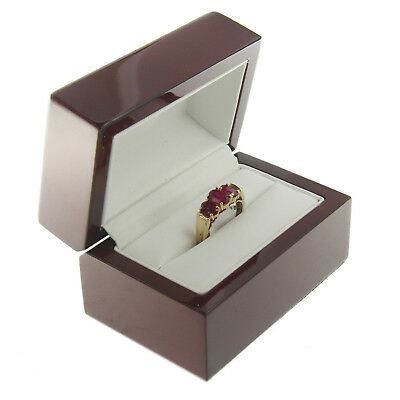 - Deluxe Cherry Rosewood Double Ring Box Display Wood Wooden Jewelry Gift Box