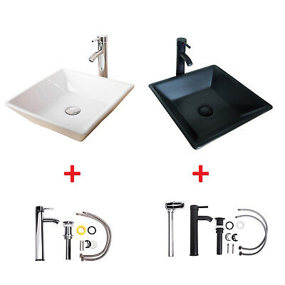 Black & White Ceramic Bathroom - Black/White Modern Bathroom Ceramic Vessel Sink Chrome/ORB Faucet Drain Combo