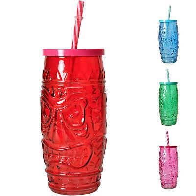 Deckel und Strohhalm Trinkglas Tiki Totem Hawaii Drinks  (Kunststoff-glas Mit Deckel)