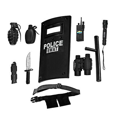 SWAT Police Officer Toy Play Set Costume Plastic Shield Knife Belt Kids Gift NEW