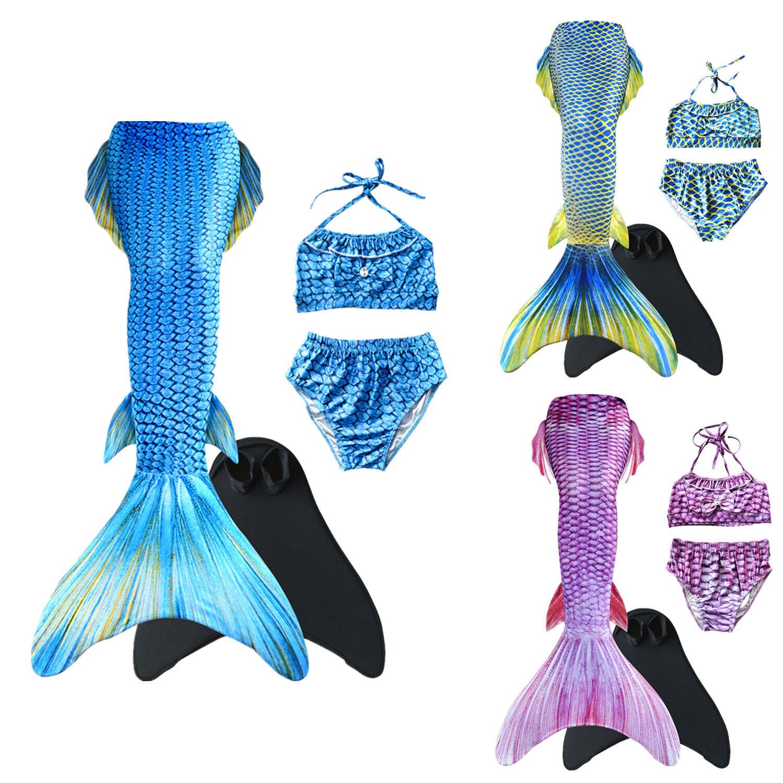 Kinder Mädchen Meerjungfrau Bikini Bademode Schwimmbare Mermaid Schwanzflosse