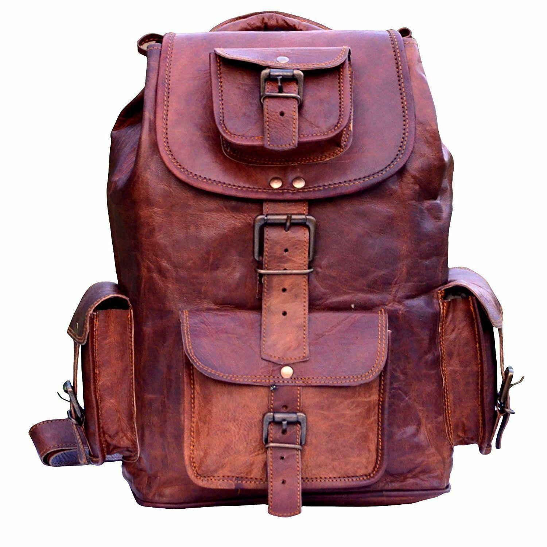 "21"" Handmade Genuine Leather Backpack Rucksack Travel Bag Fo"