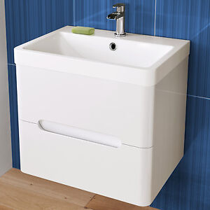 Wall Hung Gloss White Bathroom Furniture Sink Cabinet Vanity Basin Unit 600x5