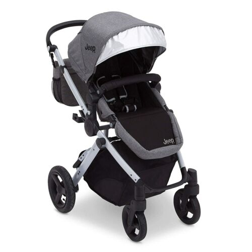 J is for Jeep Brand Sport Utility All-Terrain Stroller, Grey on Silver Frame
