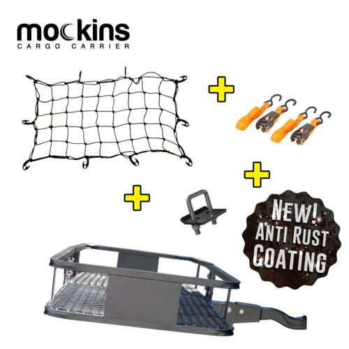Mockins Hitch Mount Cargo Carrier & Net Set Extension Trailer Car SUV Luggage