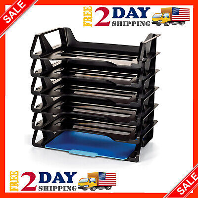 Stackable Letter Tray Desk 6-pack Office File Document Paper Holder Organizer