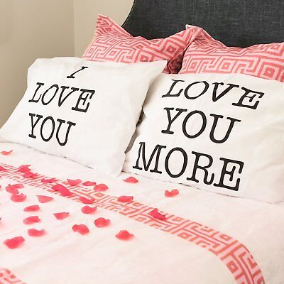 I Love You and Love You More Valentines Day Pillowcase Cover Gift Set Wedding