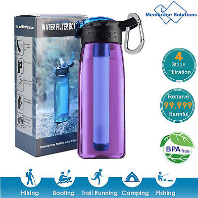 4-Stage Filter Water Bottle Intergrated Straw Camping Hiking Backpacking Travel
