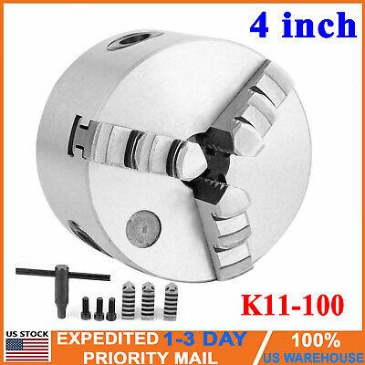 K11-100 Lathe Chuck 4 Inch 3 Jaw Self Centering Chuck Milling Hardened Steel New