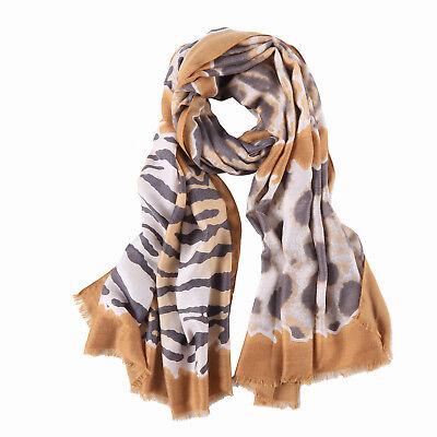 Long Cotton Scarf Beige Theme Zebra Print COT902