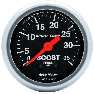 """Auto Meter 3304 Gauge Boost 2 1/16"""" 35psi Mechanical Sport-Comp"""