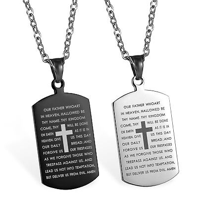 Stainless Steel Carved Cross Lords Prayer Dog Tag Pendant Men Women Necklace 22