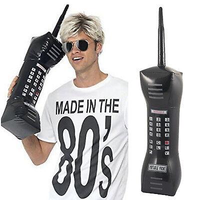 aufblasbar Retro Handy 80s Jahre große schwarze Ziegel Phone Kostüm - Schwarz Große Kostüm Zubehör