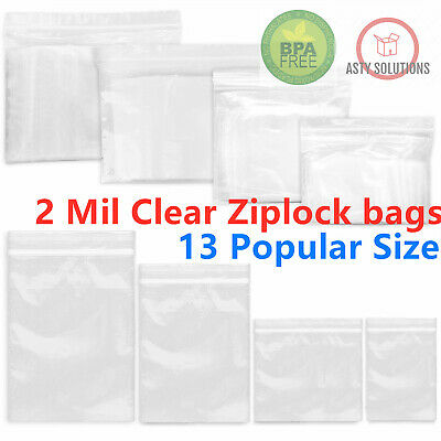 Clear Reclosable 2-mil Zip Lock Plastic Bags Ziplock Baggies Poly Jewelry Bags