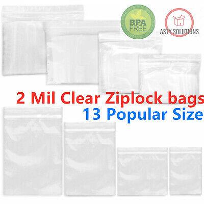 Clear Reclosable 2-Mil Zip Lock Plastic Bags Ziplock  Baggies Poly Jewelry -