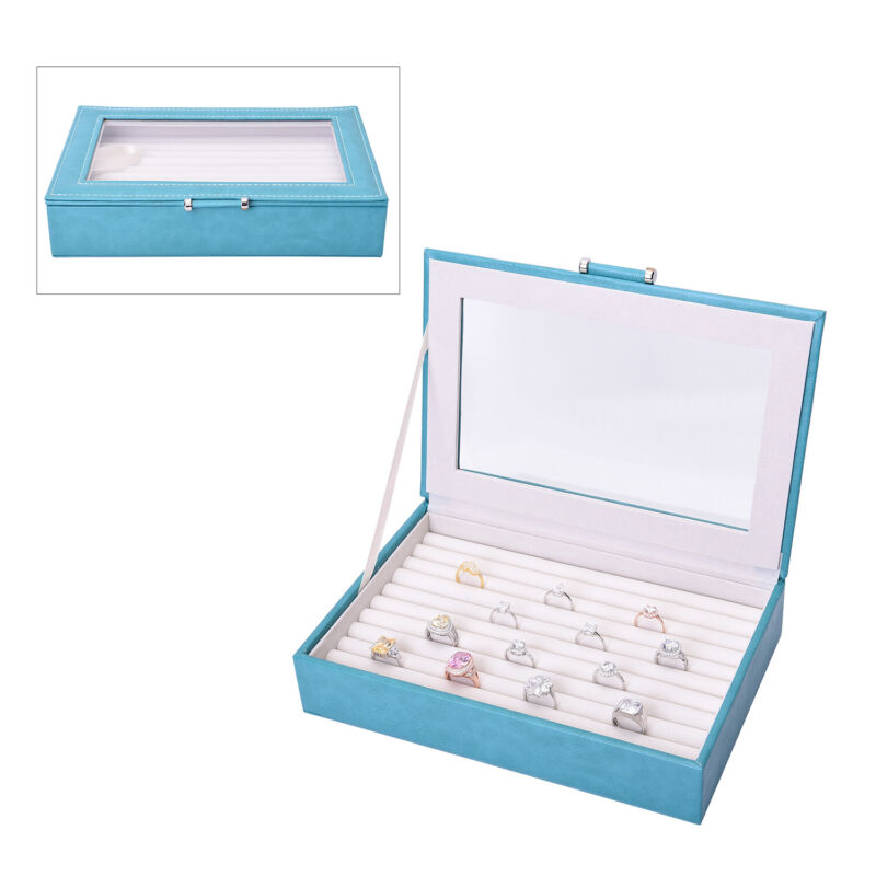 Teal Faux Leather Ring Jewelry Box Glass Window Anti Tarnish Protection Lining