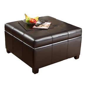 Brand New Brown Black Faux Leather Vinyal Storage Ottomans
