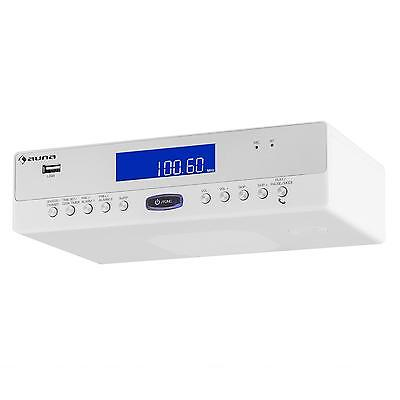 Küchenradio Unterbau Radio Wecker Bluetooth USB UKW Mp3 Eieruhr LCD Weiß