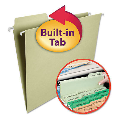 Smead Fastab Hanging File Folders 13 Tab Letter Moss Green 20box 64082