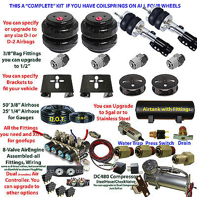Air Suspension Kit Pontiac Fiero Strut Front/Coils Rear See Description Below
