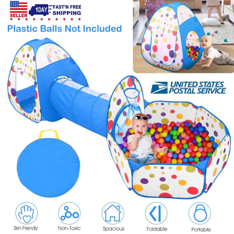 3 In 1 Portable Kids Children Ball Pit Pool Play Tent For Baby Indoor Outdoor