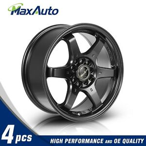4 New 16X7 +40mm Offset 5x100 5x114.3 Matte Black Wheels Rims For Honda Accord