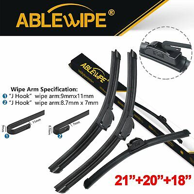 ABLEWIPE Fit For BMW 318ti 1999-1995 Beam Front Rear Wiper Blades J/U (Set of 3)