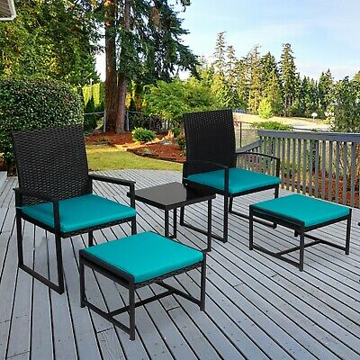 5PCS Patio Wicker Furniture Set Bistro Chair W/ Table Cushioned Ottoman Outdoor