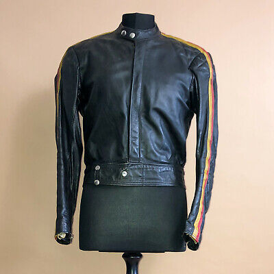 Vintage 80's 90's Women's Distressed Biker Motorcycle Leather Jacket Small UK 10