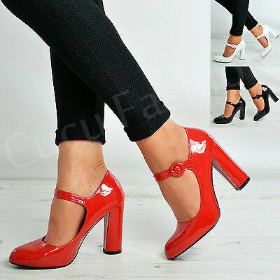 New Womens Ladies Ankle Strap Court Pumps Patent High Block Heels Shoes Size Uk ()