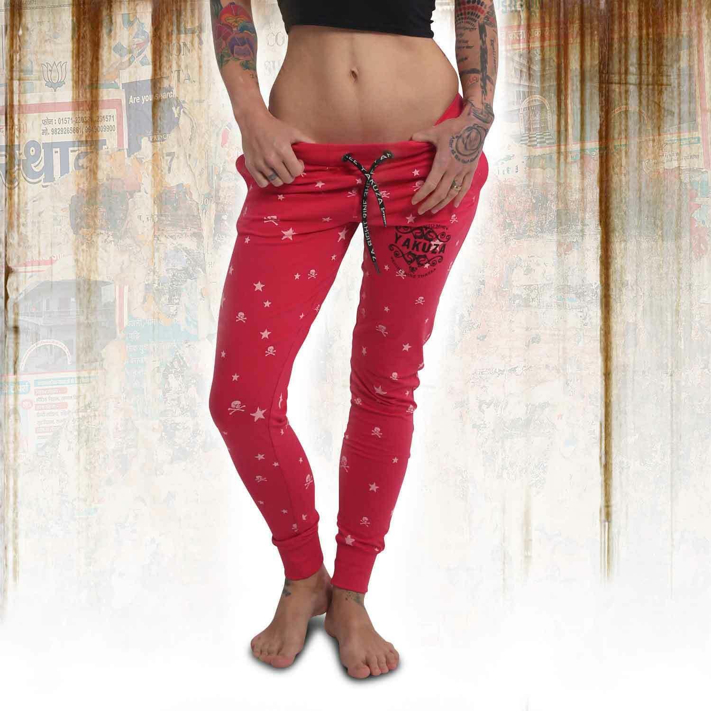 Neue Yakuza Damen Skull N Stars Skinny Jogginghose - Rose Red
