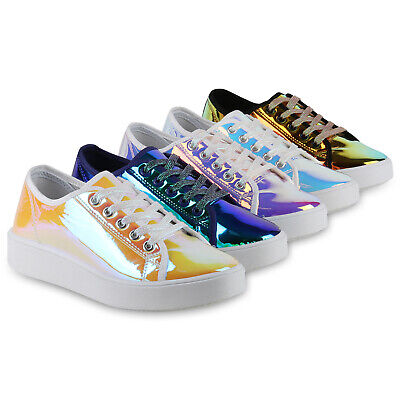 Damen Plateau Sneaker Lack Metallic Holo Turnschuhe Schnürer 830236 Schuhe