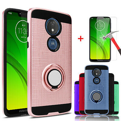 - For Motorola Moto G7 Power/G7 Supra Case With Ring Stand Holder+Screen Protector