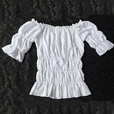 Women Victorian White Vintage Lolita Blouse Shirt Top Reenactment Fancy Dress - Top Fancy Dress Costumes