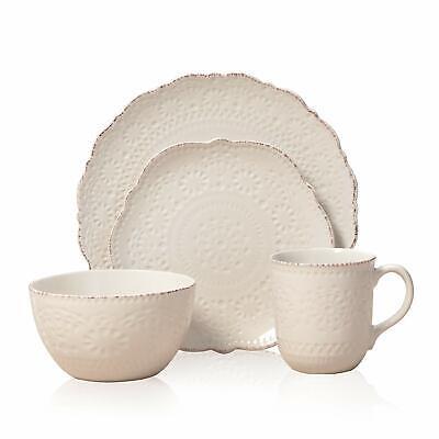 Pfaltzgraff 5143149 Chateau Cream 7-Piece Stoneware Dinnerware (Missing Pieces) Dinnerware Set Cream