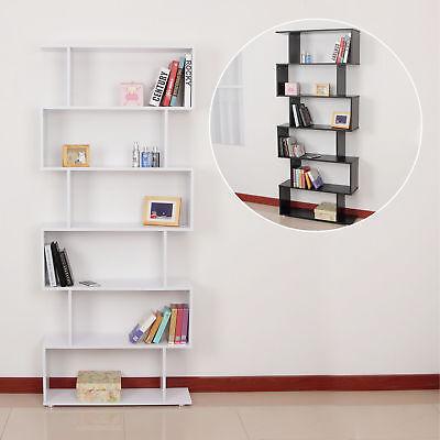 Storage Bookcase 6 Shelves Wood Bookshelf S Shape Display Unit Home Furniture