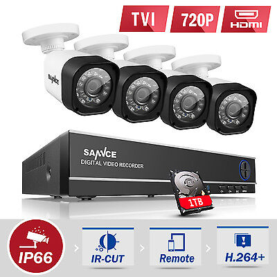 SANNCE 8CH HD-TVI Digital Recorder 720P IR Outdoor Security Camera System 1TB UK
