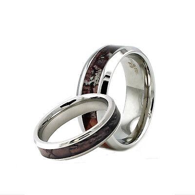 Stainless Steel Men & Women's Match Couples Camo Wedding Eng