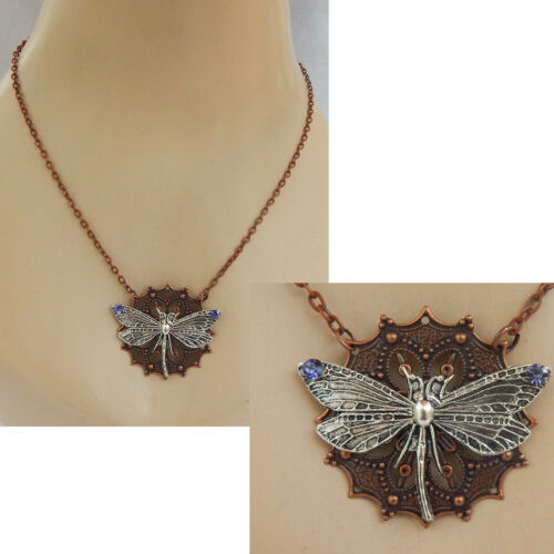 Dragonfly Necklace Pendant Copper Jewelry Handmade NEW Chain Women Silver
