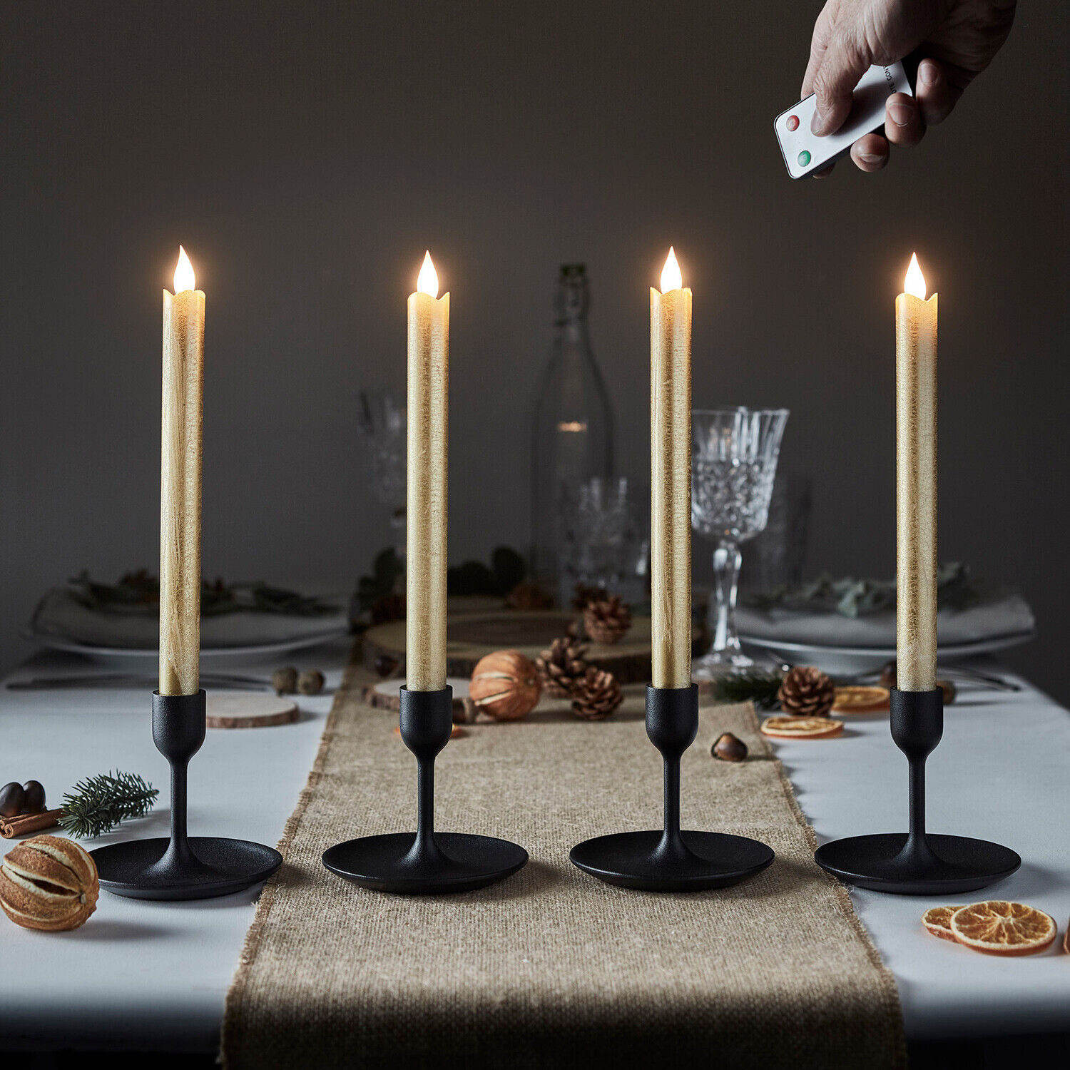 Set Of 4 Gold Wax Flameless Led Battery Operated Remote Control Taper Candles Ebay
