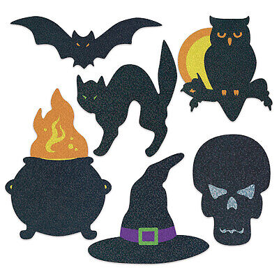 Halloween Beistle 6/pkg GLITTER SILHOUETTES Bat Owl Cauldron Black Cat Skeleton