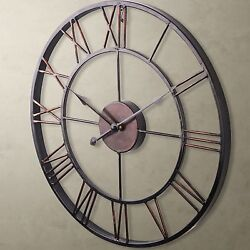 Large Wall Clock 50cm Iron Metal Industrial Rustic Vintage French Provincial