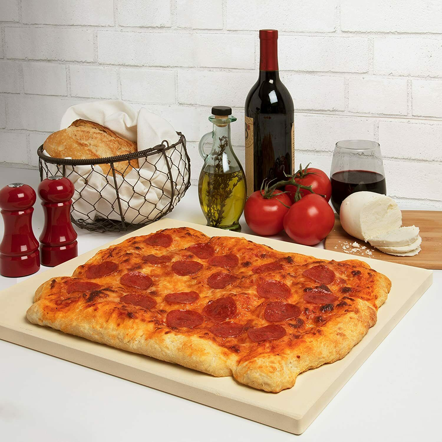 CucinaPro Pizza Stone for Oven, Grill, BBQ- Rectangular Pizz