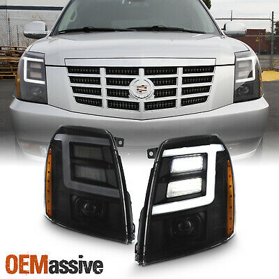 For 07-14 Cadillac Escalade [Xenon/HID] Black Smoke LED DRL Projector Headlight