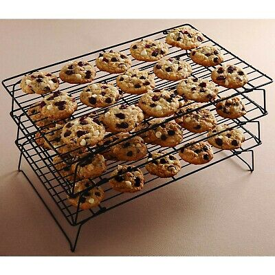 Cooling Cake Cookie Rack Stacks 3 Tier Baking Bakery Wire Stackable Food (Baking Tiered Cakes)