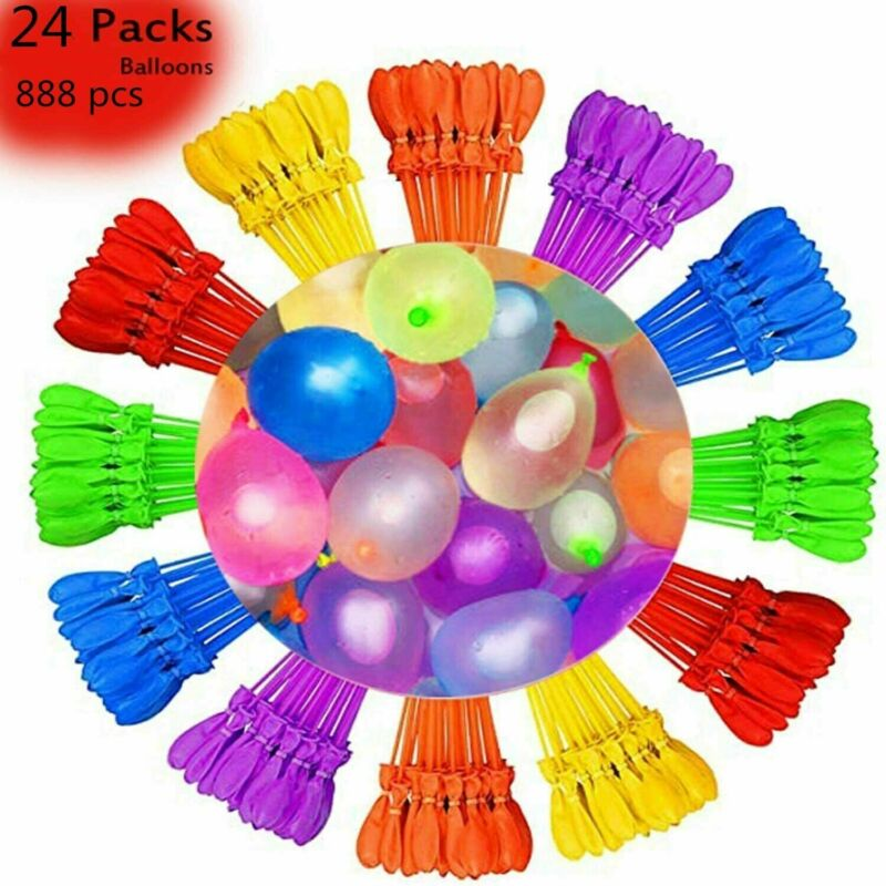 888 Pcs Bunch O Style Balloons Instant Water Balloons, Self-Sealing,Tied, New