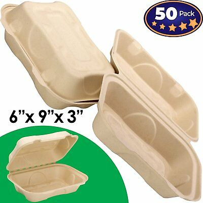 Biodegradable 6x9 Take Out Food Containers with Clamshell Hinged Lid 50 Pack... - Take Out Containers